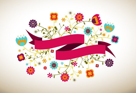 Ribbon Vector Banner With Flowers - 365psd