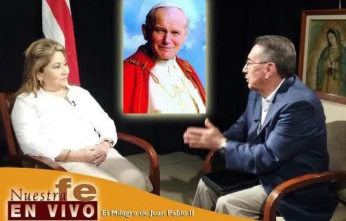 Floribeth Mora Diaz speaks with host Pepe Alonso during an interview on the show 'Nuestra Fe en Vivo' on EWTN Español. Credit: EWTN.
