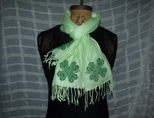 Irish Lace Shamrocks on Light Green by BeachsideEclectibles