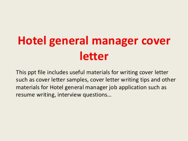 Hotel General Manager Cover Letter