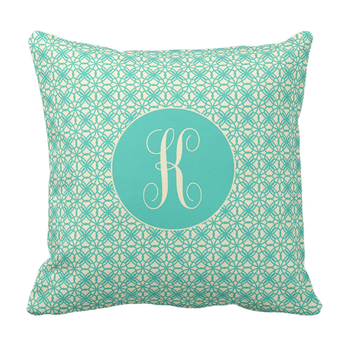 Teal Initial State Love Throw Pillow