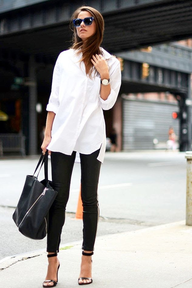 Le Fashion Blog Casual Chic Black And White Style Blue Sunglasses Oversized Shirt Round Watch Leather Pants Tote Sandals Via Fashion Vibe -- Shopbop Sale Discount Code