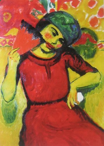 Young Woman with Red Fan, Hermann Max Pechstein, c. 1910