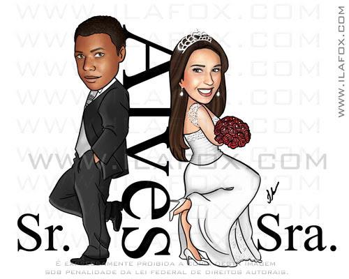 caricatura casal, caricatura noivos, noiva morena, noivo negro, Alves, estilo sr e sra smith, by ila fox
