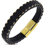 """Stainless Steel Yellow Gold-Tone Black Leather Braided Wristband Bracelet, 8"""""""