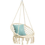 Best Choice Products Hanging Cotton Hammock Swing with Fringe Tassels, Beige
