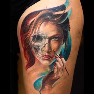Half Skull Half Face Tattoo Best Tattoo Ideas Gallery