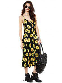 Sunflower Print Spaghetti Straps Dress - Yellow And Black L