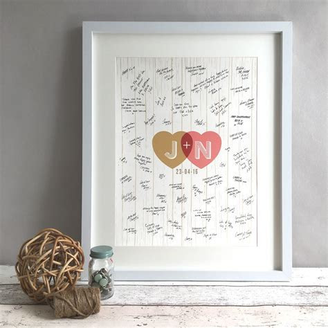 Rustic Hearts Personalised Wedding Guest Book Print