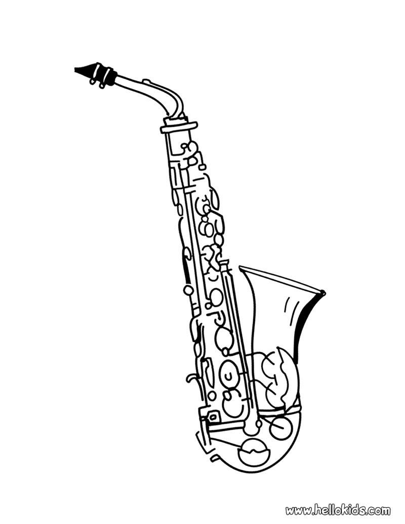 Saxophon zum Ausdrucken Saxophon zum Ausmalen