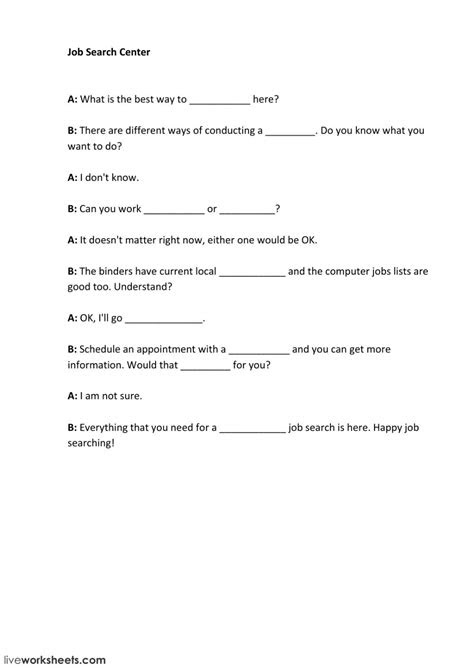 Job Search - Interactive worksheet