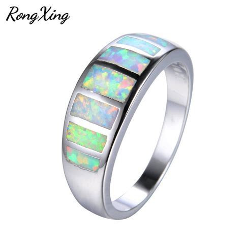Mysterious Rainbow Fire Opal Rings for Women Men Wedding