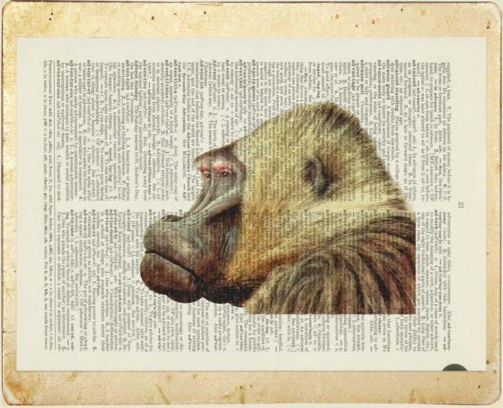 Baboon print - watercolor printed on old page from dictionary - FauxKiss