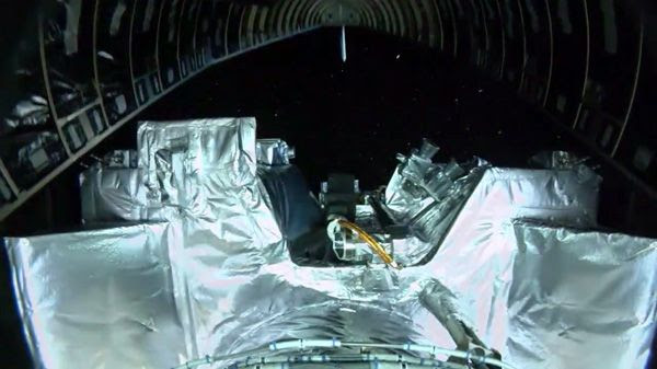 Rocketcam footage showing the OSIRIS-REx spacecraft as the payload fairing separated from its Centaur second stage engine...on September 8, 2016.