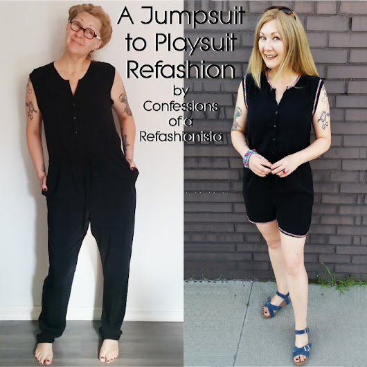 Jumpsuit to Playsuit Refashion ~ Confessions of a Refashionista