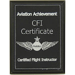 CFI Certificate Aviation Achievement Plaque