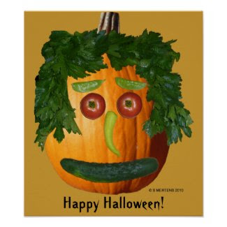 Happy Halloween - Uncut Pumpkin Face print
