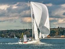 J/70 sailing under spinnaker on Alster Lake- Hamburg, Germany