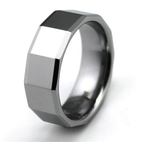 Customized Mens Faceted Tungsten Carbide Ring Comfort Fit