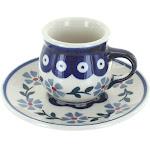 Polish Pottery Blue Violet Espresso Cup & Saucer