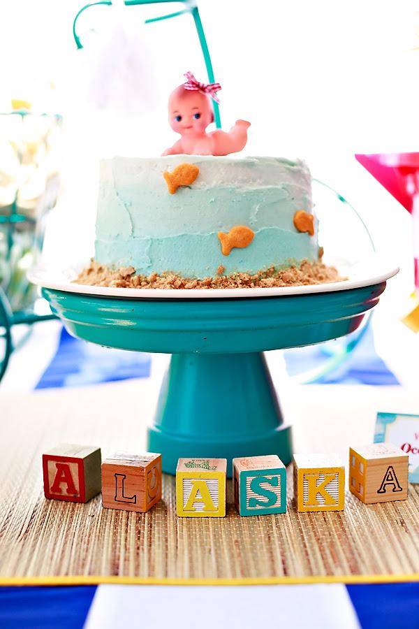 Vintage Beach Theme Baby Shower Cake Under The Sea Baby Shower