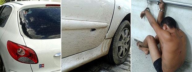 Carro em que os suspeitos estavam ficou com buracos de bala; um deles foi preso durante o confronto  (Foto: Anderson Barbosa/G1)