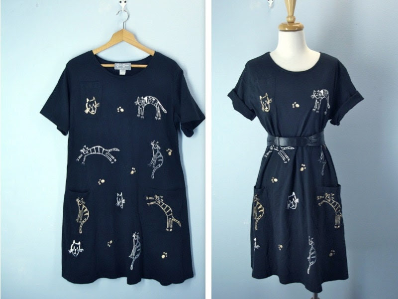 1980s Tshirt Dress / Vintage Cat Tee Dress / large