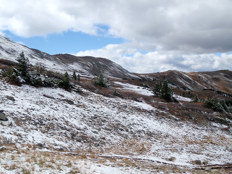 Looking up at Cottonwood Pass from the west side.