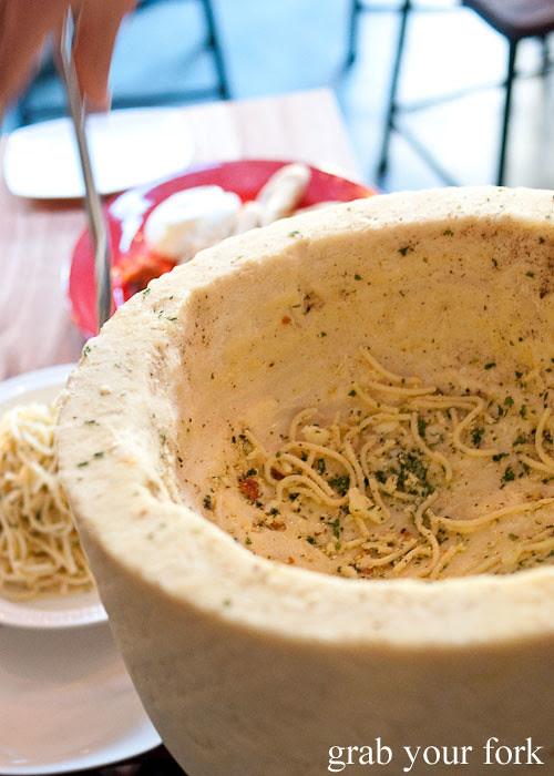 spaghetti inside the pecorino wheel buffalo dining club darlinghurst