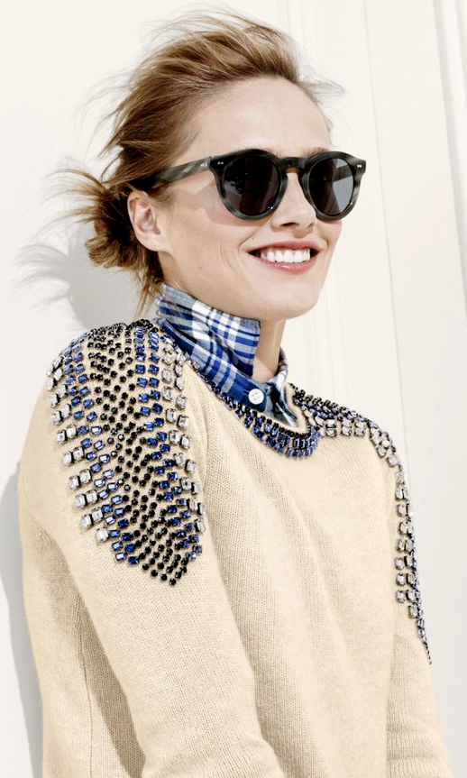 LE FASHION BLOG J CREW SEPTEMBER FAVORITE PLAID AND JEWELS Acropolis Blue Plaid Flannel Shirt Collection Cashmere Jeweled Shoulder Sweater photo LEFASHIONBLOGJCREWSEPTEMBERFAVORITEPLAIDANDJEWELS.png
