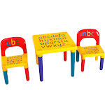 Letter Kids Table & Chairs Play Set Toddler Child Toy | Costway