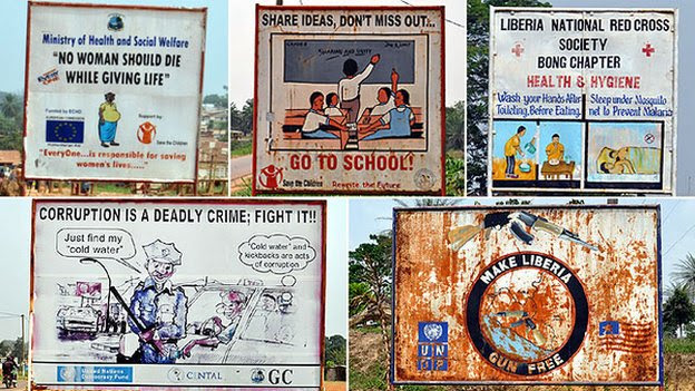 Five billboards in Bong County, Liberia, 9 April 2012