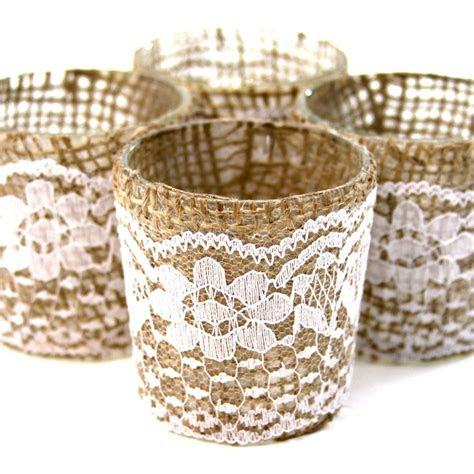 lace burlap wrapped glass votive candle holders