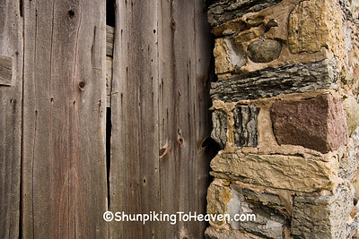 Wooden Door and Fieldstone Wall, Historic Chase Stone Barn, Oconto County, Wisconsin