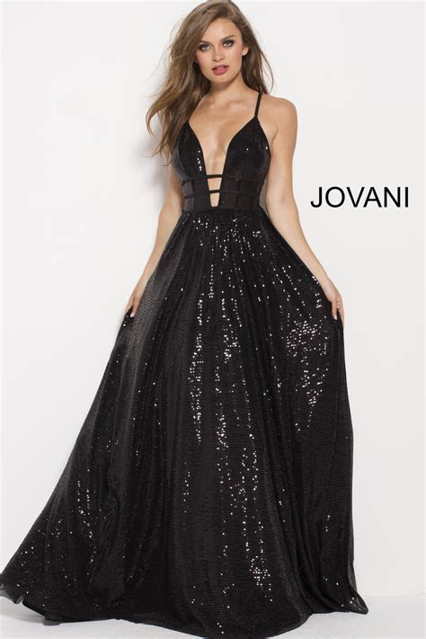 Jovani 51805 Black Sequin Cutout Gown: French Novelty
