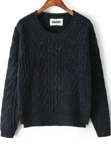 High Low Slit Navy Sweater