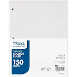 Mead College Ruled Filler Paper - 150 sheets