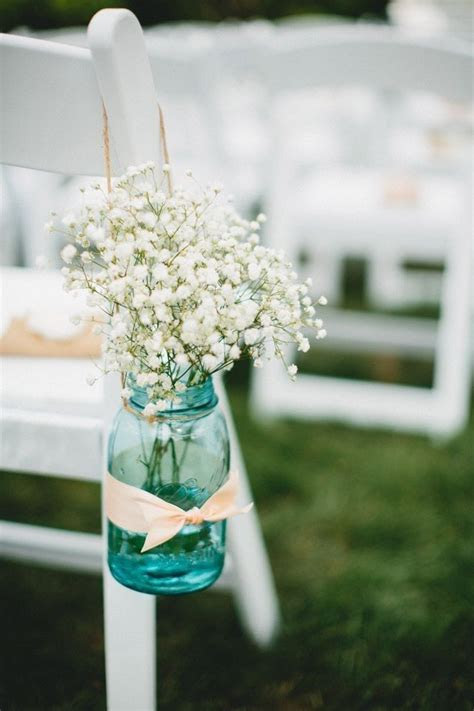 diy wedding chair hanging mason jar with ribbon bowknot