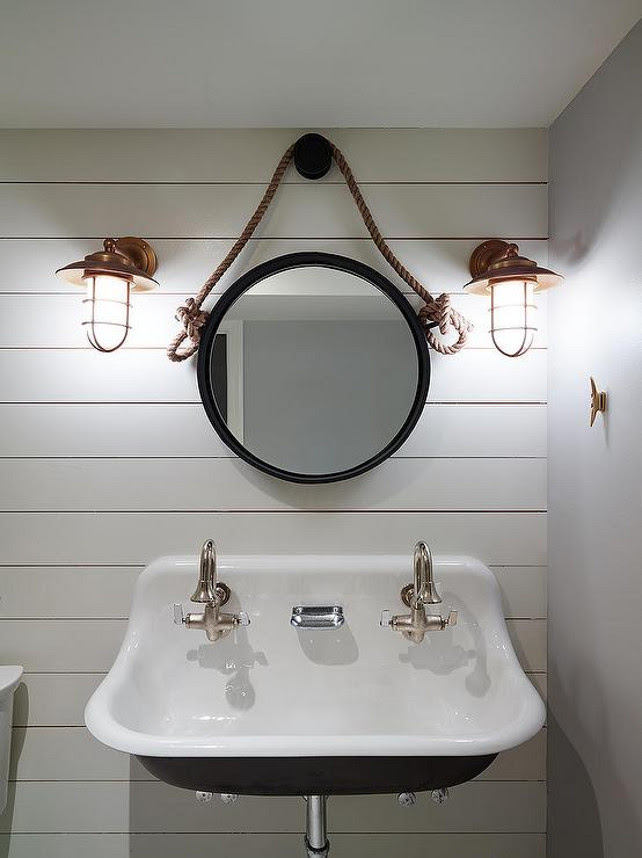 Nautical Bathroom. nautical bathroom rope mirror rope bathroom mirror copper cage sconces copper nautical sconces  shared boys bathroom shared bathroom bathroom design bathroom ideas shiplap bathroom shiplap walls shiplap walls Restoration Hardware iron and Rope Mirror Shophouse Design.