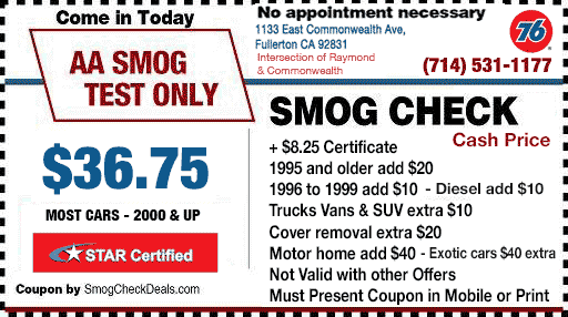 AA Smog Test Only - 3 Locations Fullerton, Riverside & Tustin