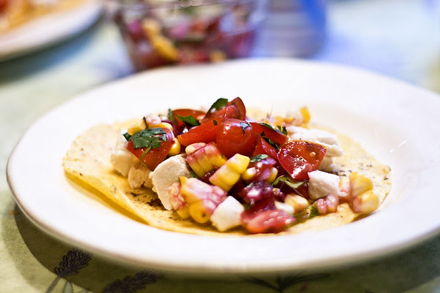 chicken taco with cherry pico de gallo