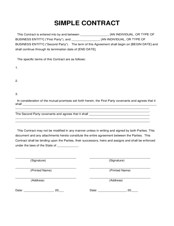 simple contract sample l1