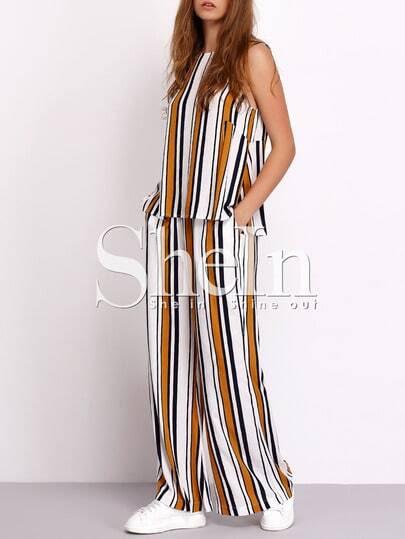 Dos piezas rayas verticales sin manga con pantalones largo fotos
