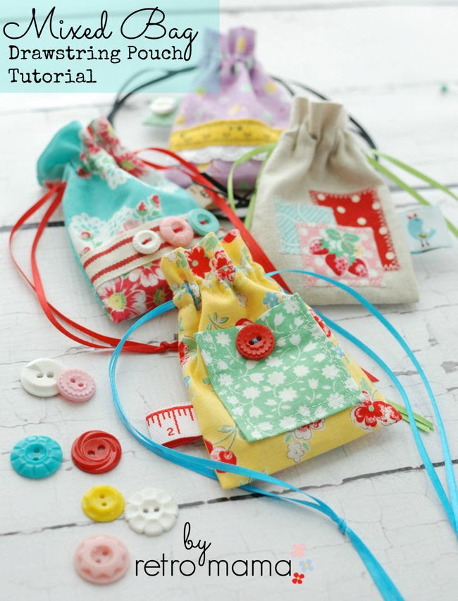 Retro Mama | Mixed Bag Drawstring Pouch Tutorial