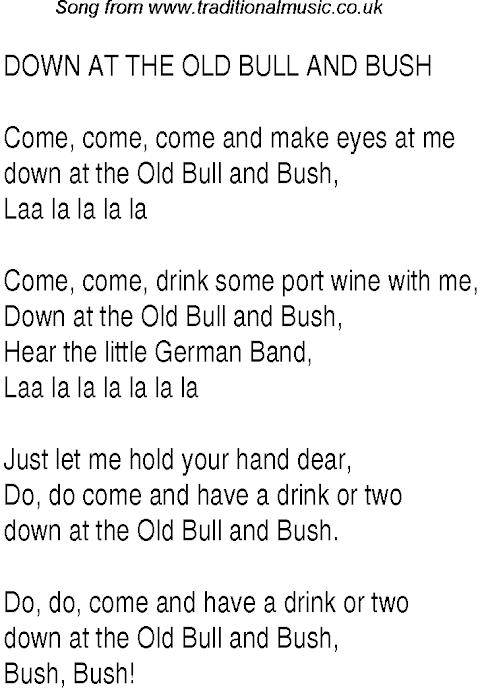 Down At The Old Bull And Bush Lyrics