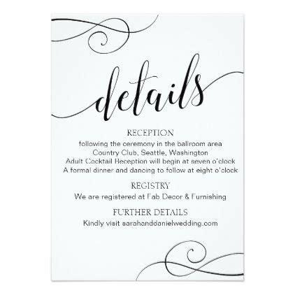 Elegant Typography Wedding Details Enclosure Card   Zazzle