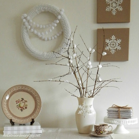 Make an Inexpensive Peaceful Winter Vignette | An Extraordinary Day