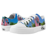 Pink Flamingo Zipz Low Top Sneakers, Printed Shoes