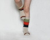 knitted wool socks/warm/handmade/cute/colorful/natural wool/socks for children/for girls/white with red dark blue green - feminino