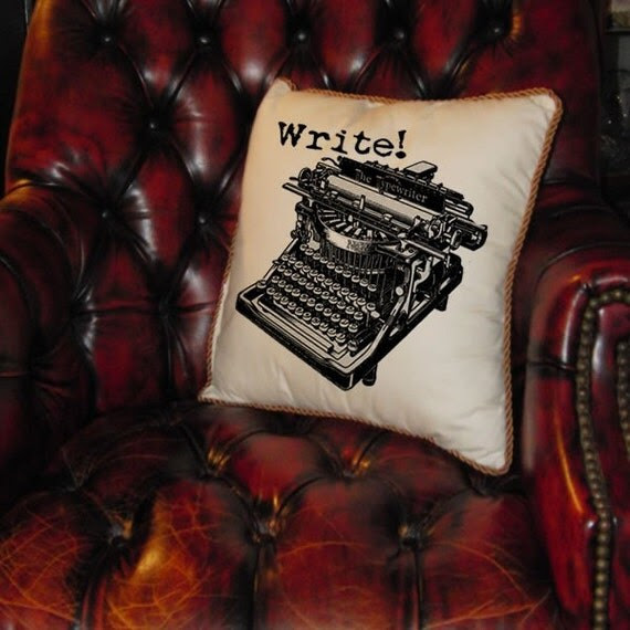 Vintage Typewriter Burlap Digital Download WRITE Text Typography Words Digital Collage Sheet Fabric Transfer Pillows Totes Tea Towels1685